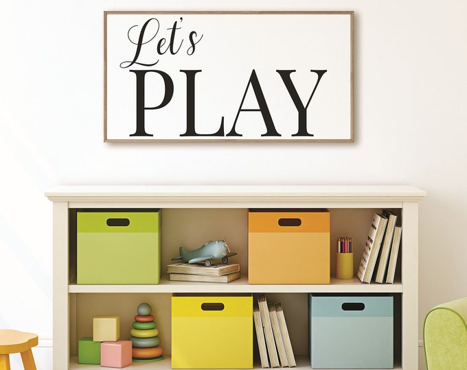 Lets Play Sign-Playroom Sign-toy room wall art-toy room sign-kids game room sign-playroom decor-family game room-children's room sign wood