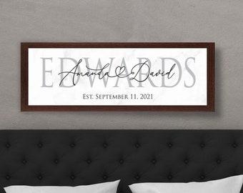 Personalized wedding gift-last name sign-engagement gift-master bedroom-established date-wedding date-hanging-wedding decor-Couple name sign
