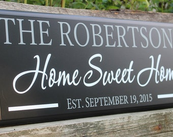 Home sweet home sign-home sign-housewarming gift-home sweet home wall art-wood sign-personalized family name home sweet home-new homeowners