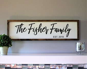 Family name sign wood-farmhouse family wall sign-family established plaque-gift for family wood established sign-last name sign