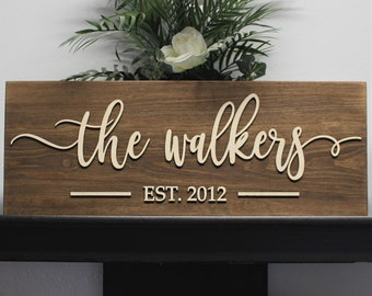 Family name plaque-family name sign-3d family sign-Personalized wedding gift for couple-bridal shower gift-last name established sign
