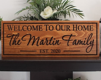 Welcome sign wood-personalized front door welcome sign-welcome to our home sign-welcome sign for front porch-personalized front door sign