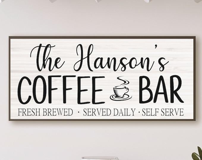 Coffee bar sign-coffee bar decor-kitchen sign-coffee sign-personalized coffee-kitchen wall decor-coffee bar ideas-wooden coffee sign