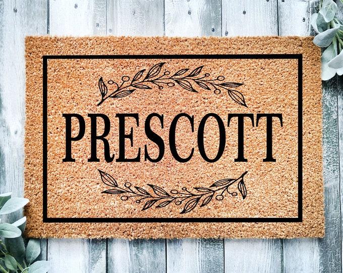 Housewarming gift-last name doormat-entryway-porch entrance rug-last name doormat-gift for new home-door mat-entrance rug with name on it