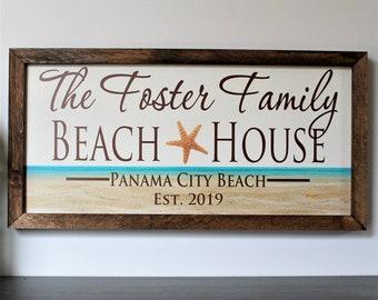Personalized beach house sign-for beach house-decor-custom beach house sign gift-plaque-beach cottage beach theme-shore house decor coastal