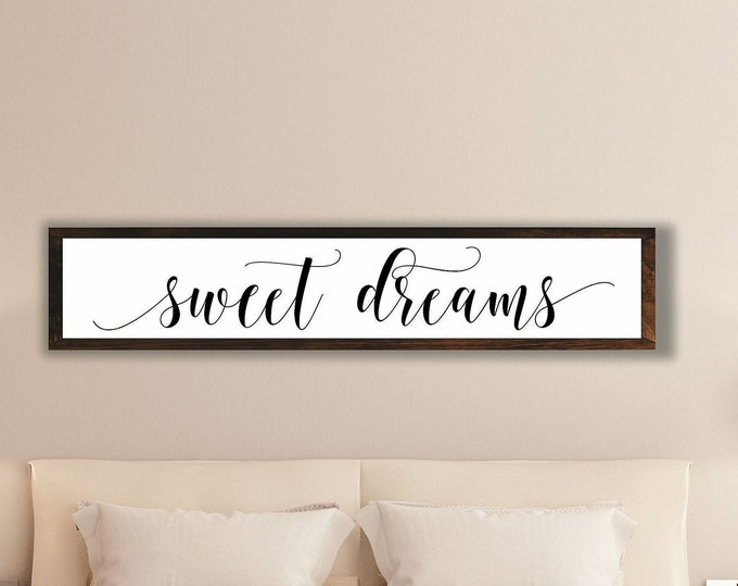 Sweet dreams sign-Master bedroom sign for over bed-master bedroom wall decor-wall art bedroom wall sign