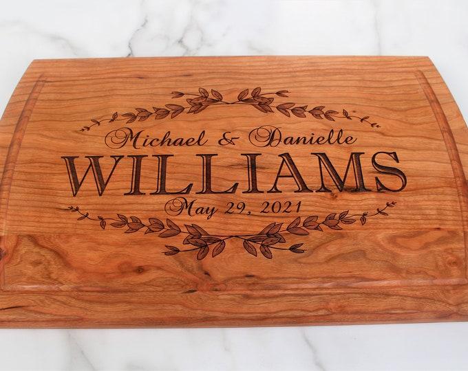 Wedding gift cutting board-personalized-custom engraved cutting board wedding gift-engagement gift-for couple personalized cutting board