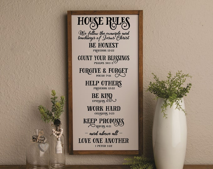 House rules sign-scripture family rules-religious wall decor art-scripture signs-bible verse signs-inspirational wall decor-family gift idea