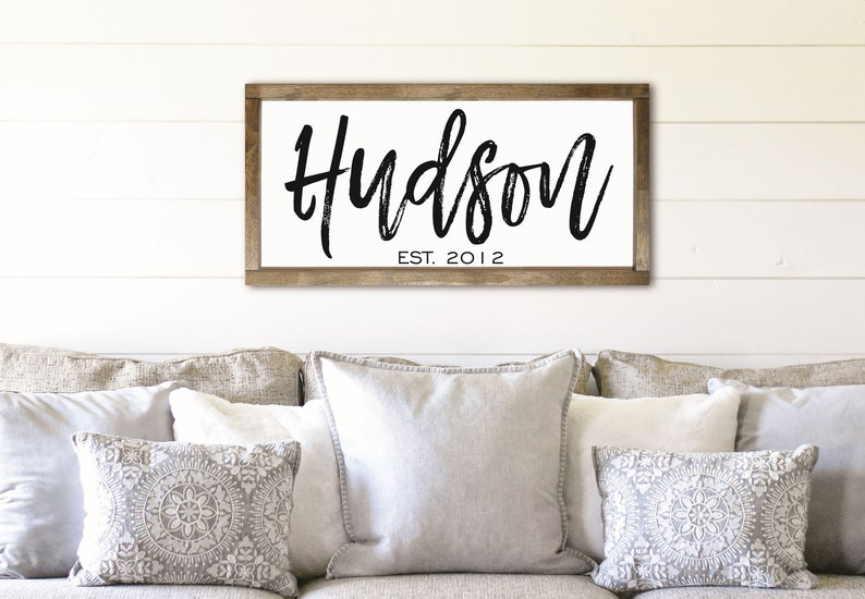 Family Name Framed Sign Last Name Farmhouse Sign Over The Etsy