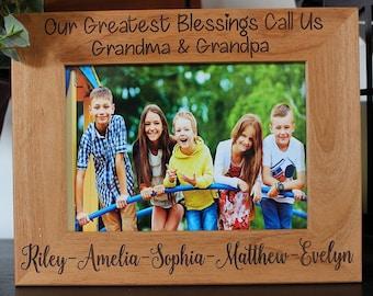 Our greatest blessings call us Grandma and Grandpa-Grandparent gift-personalized picture frame-grandkids frame-Custom Grandchildren Frame