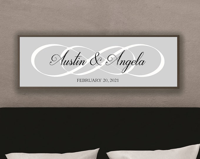 Master bedroom wall decor over the bed-wedding anniversary gift-wall decor master bedroom signs above bed-infinity sign wood-sign with names