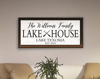 Custom lake house sign-lake signs-lake house decor-personalized lake house signs-framed lake house sign-cabin-cottage sign-custom beach sign
