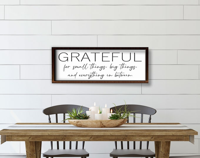 Grateful for small things-Over the couch wall art-decor sign for above couch-living room sign-new home gift-decor-wood framed sign