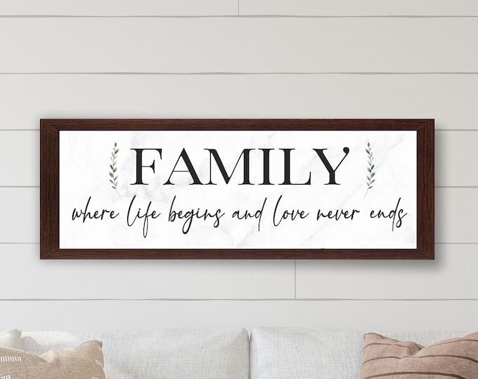 Family where life begins and love never ends-wooden sign-living room sign-inspirational sign-gift for parents-over the couch wall decor