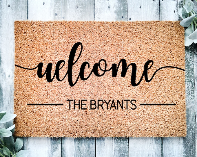 Personalized entrance rug-entrance doormat-personalized mat-housewarming gift-entry way rug-welcome doormat-house doormat-family gift