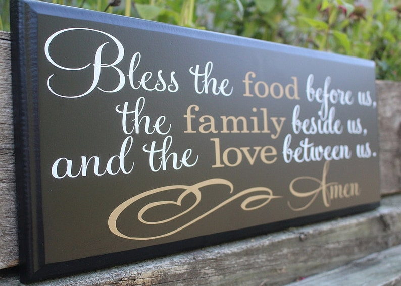 d20903af58b Bless the food before us wood sign-dining room wall