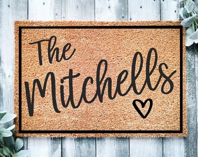 Last name doormat-personalized entrance rug-entrance doormat-entry way rug-Housewarming gift-doormat-welcome doormat-family wedding gift