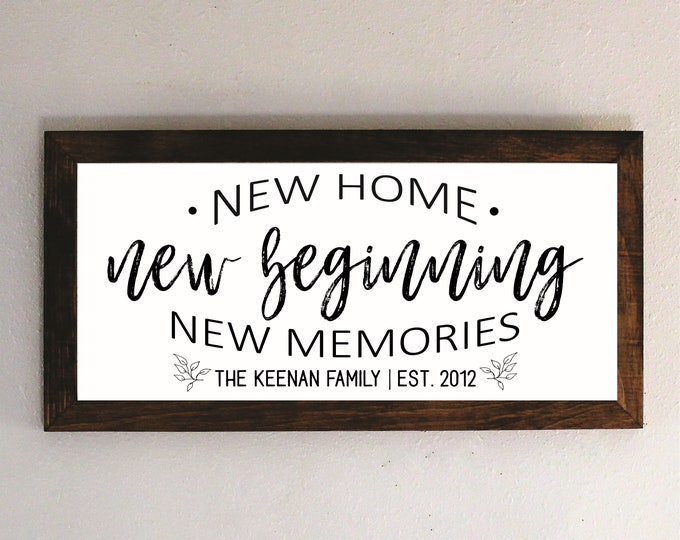 New Home New Beginning New Memories sign-new house gift-new home wood sign-realtor gift-housewaming gift-personalized home sign-framed sign