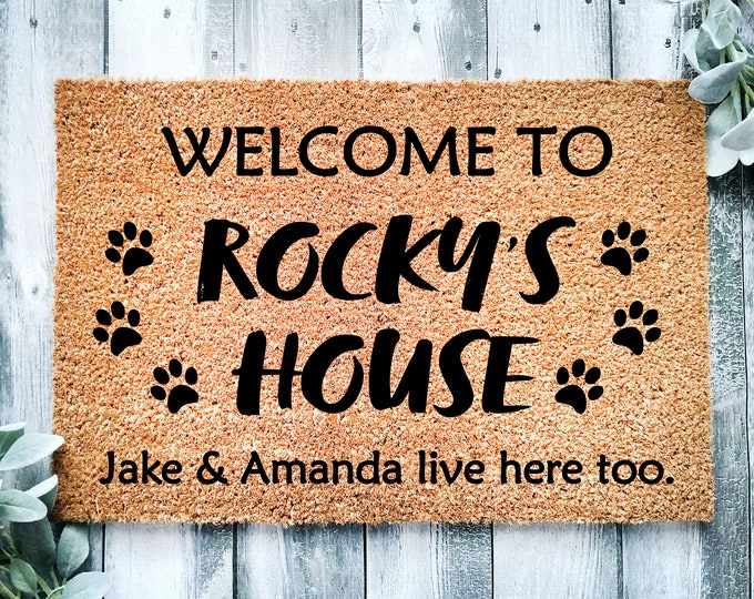 Welcome dog-doormat-paw print doormat-dog name doormat-custom dog doormat-door mat-personalized doormat-entrance rug