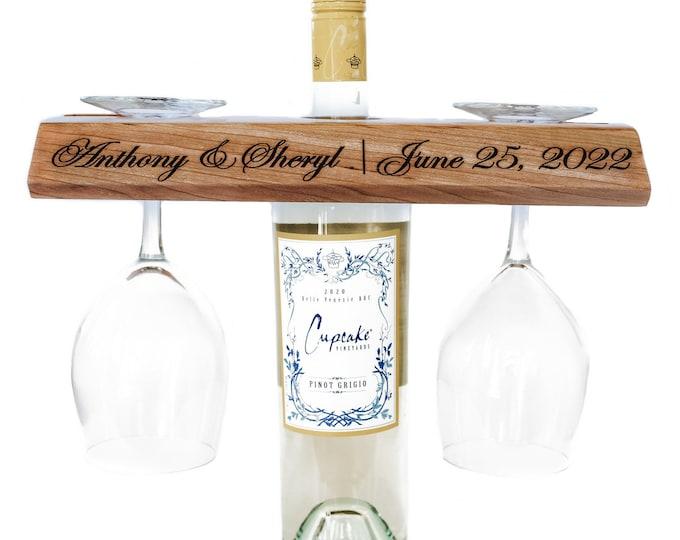 Wine glass and bottle holder-wedding gift wine bottle holder-glass bottle holder-engraved wine bottle holder-table top wine glass holder