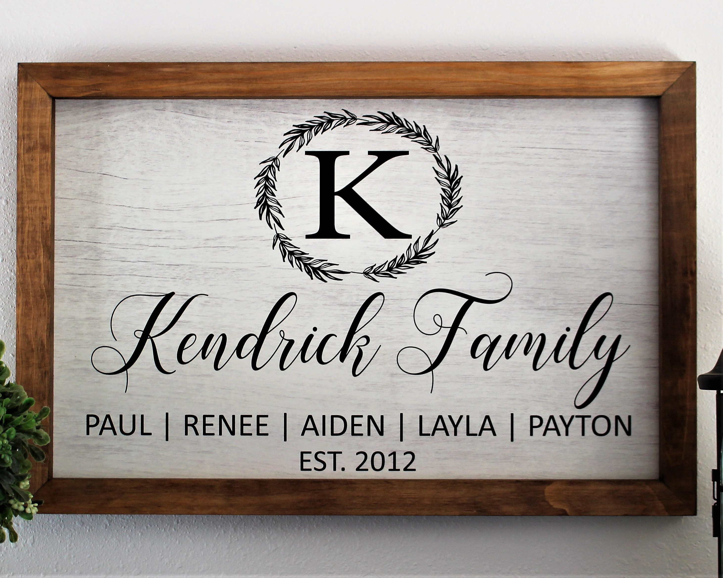 Framed Family Established Sign Wood Framed Sign Monogram Last Name Family Sign Gift For Parents Family Plaque Farmhouse Parent S Anniversary