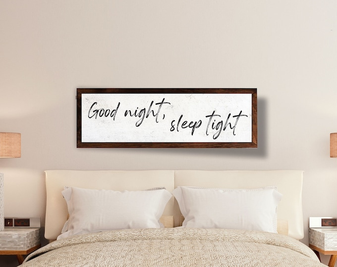 Good night sleep tight-Master bedroom wall decor over the bed-master bedroom signs above bed--wall decor bedroom-bridal gift