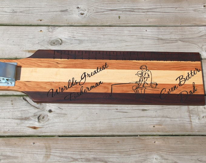 Worlds greatest fisherman, fish fileting board with clamp, cutting board with ruler, fishermans gift, fish board with ruler