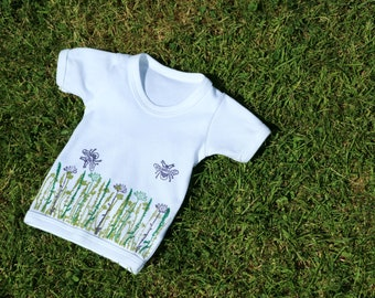 Bee & Wildflower T-Shirt - Short Sleeve | Baby 12-18 months | Eco | Organic Cotton | Block Printed | Baby Shower | Handprinted Clothing