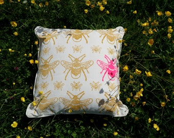 Bee Cushion - Handprinted  | Neon Pink | New Home | Country Garden | Organic Cotton | Block Printed | Insets | Size 40 x 45 | Home Decor |