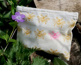 Fabric Purse - Yellow & Neon Bee | Pouch Handprinted | Zip Pouch | Organic Cotton | Block Printed | Purse | Coin Purse | Gift | Wallet