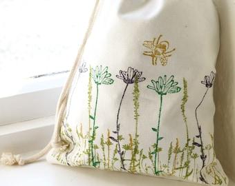 Wildflower & Bee Drawstring - Bag | Handmade | Eco Friendly | 100% Organic Cotton | Block Printed | Bee | Flowers | Wash Bag | Project Bag