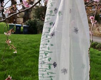 Wildflower Scarf | Hand Printed | Eco Friendly | 100% Organic Cotton | Block Printed | Green & Purple