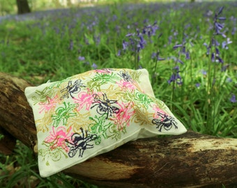Pouch- Bees | Hand Printed | Eco Friendly | Organic Cotton | Block Printed | Purse | Make up Bag | Multi Coloured | Layers | Wallet