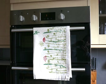Wildflower Red Tea Towel - Home | Kitchen | Handmade | Eco Friendly | 100% Organic Cotton | Block Printed | Present | Red