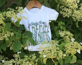 Baby Wildflower T-Shirt  - Short Sleeve | Baby 6-12 months | T- Shirt Hand Printed | Organic Cotton | Block Printed | Gift | Baby Shower |