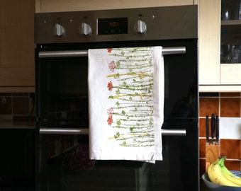 Wildflower Tea Towel - Home | Kitchen | Handmade | Eco Friendly | 100% Organic Cotton | Block Printed | Present | Terracotta