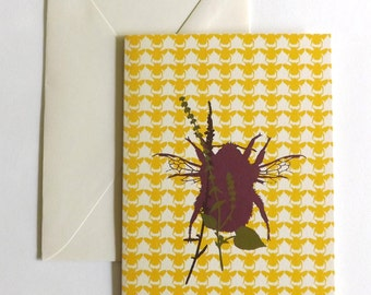 Greetings Card- Bee and Wildflowers | Handmade | Eco Friendly | Birthday Card | Thank You Card | Celebration Card | Small Greetings Card