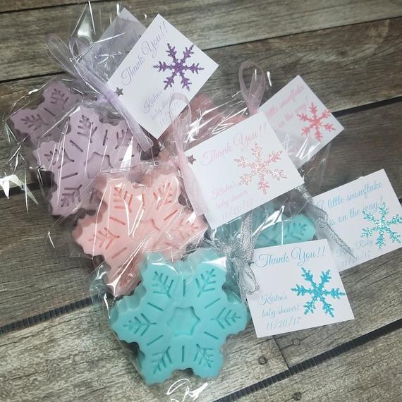 Winter Wonderland baby shower favors handmade snowflake soap decor