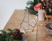 Stained Glass Holiday Centerpiece, Geometric Terrarium, Copper Christmas Decor, Glass Terrarium, Succulent Terrarium, Geometric Vase