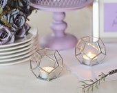 Geometric Modern Glass Tealight Candle Holders | Set of 2, Wedding Table Decor, Bridal Shower Gift, Silver Wedding Decor, Rustic Candles