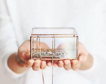 Glass Jewelry Display Box   Bridesmaids Gift
