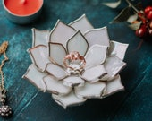 Opalescent Glass Succulent Jewelry Holder & Ring Dish | Fall Wedding Decor | Anniversary Gift | Proposal Ring Box | Wedding Ring Dish