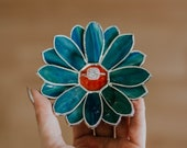 Stained Glass Daisy Jewelry Dish, Christmas Gift for Family & Friends