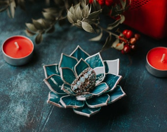 Stained Glass Succulent Jewelry Dish