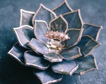Wedding Ring Dish | Glass Succulent Wedding Ring Holder | Engagement Ring Dish | Jewelry Dish Holder | Fall & Winter Wedding Decor