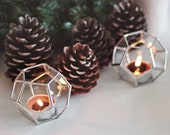 Stained Glass Geometric Candle Holder Set