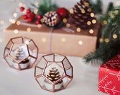 Stained Glass Christmas Lights, Copper Candle Holder Set, Christmas Candles, Rustic Fall Decor, Geometric Candles, Holiday Decor