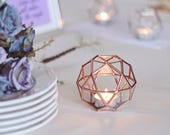 Geometric Candle Holder, Stained Glass Wedding Decor, Wedding Table Number Holder, Bridesmaid Gift, Copper Wedding Favor, Wedding Ring Box