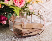Large Geometric Glass Wedding Card Box | Conservatory Envelope Holder | Wishing Well Box | Copper Wedding Decor | Wedding Money Box