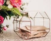 Large Glass Geometric Wedding Card Box Envelope Holder Wishing Well Box Rustic Wedding Box Glass Card Box Large Terrarium Wedding Money Box